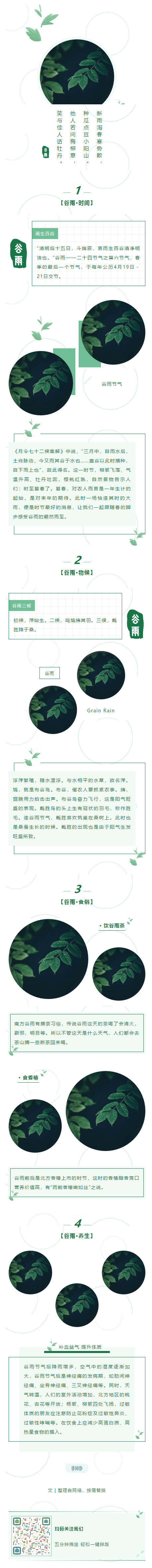 谷雨二十四节气绿色动态背景图片水纹涟漪微信推送图文模板推文素材