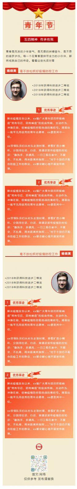 五四青年节表彰大会人物介绍党政风格图文模板公众号推文推送图文素材