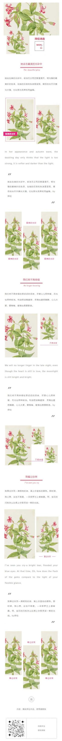 诗歌红绿风格微信模板英语英文散文公众号推送图文推广素材