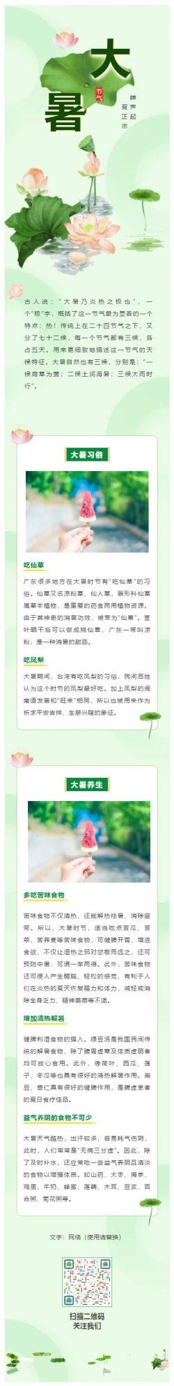 中国传统节日二十四节气之大暑绿色荷花微信公众号推文中国风格模板
