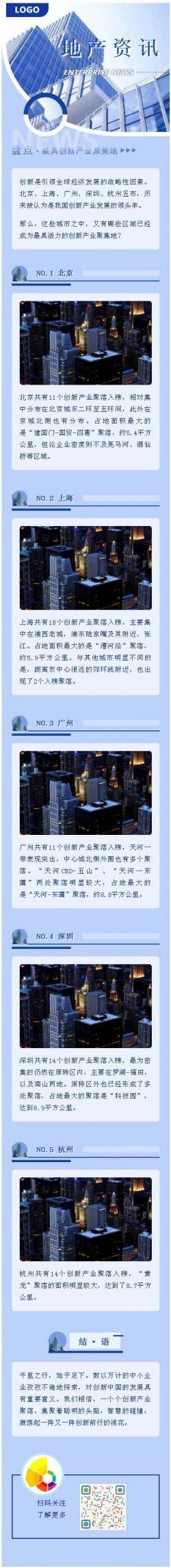 房地产资讯蓝色风格建筑商品房微信公众号推送素材推文模板