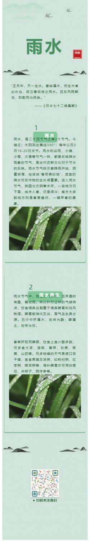 雨水二十四节气绿色模板微信公众号推文素材动态雨滴背景图