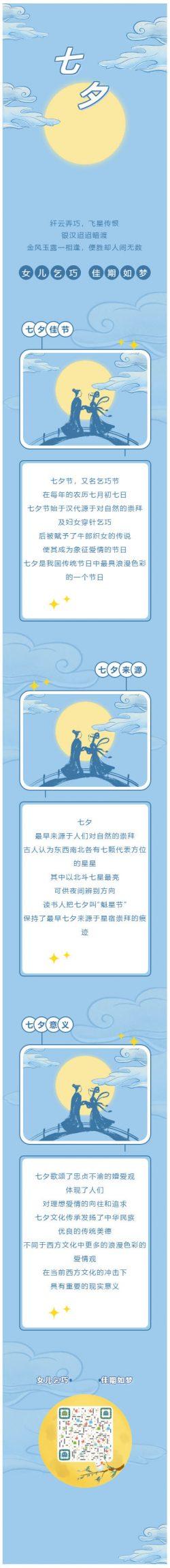 七夕节牛郎织女鹊桥微信公众号情人节模板推送图文素材推文模板
