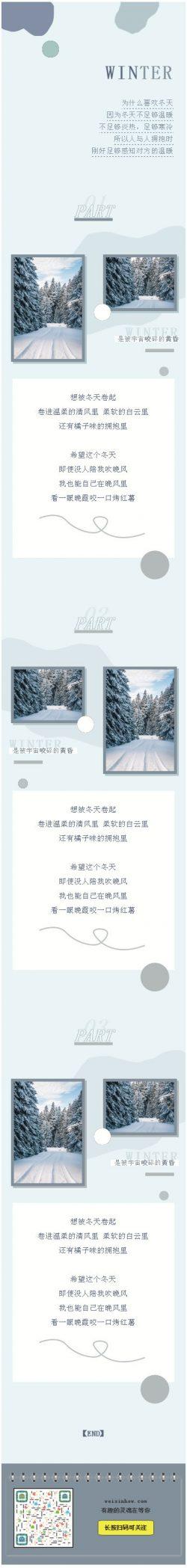 冬天清新冷色风格微信公众号推文模板推送图文微信素材
