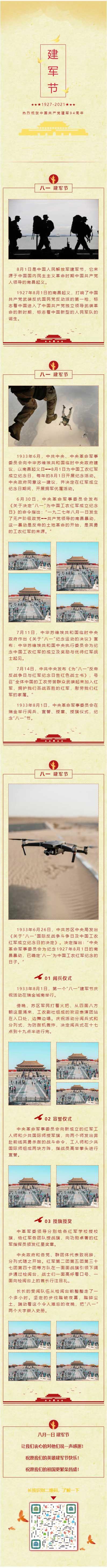 热烈祝贺中国共产党建军94周年微信建军节推文模板八一推送文章素材